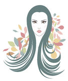 Long hair style icon, logo women face and flowers Stock Images