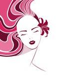 Long hair style icon, logo women face Stock Image