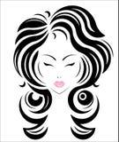 Long hair style icon, logo women face Royalty Free Stock Photos