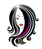 Long hair style icon, logo women face Stock Photography