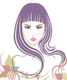 Long hair style icon, logo women face Stock Photo