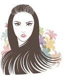 Long hair style icon, logo women face Royalty Free Stock Images