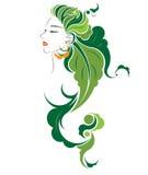 Long hair style icon, logo women face Stock Photos