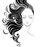 Long hair style icon, logo women face Royalty Free Stock Photos