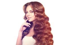 Long hair. Waves Curls Hairstyle. Hair Salon. Updo. Fashion mode Royalty Free Stock Image