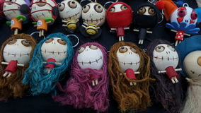 Long hair witches doll Simple and easy handmade doll. Colourful Ping pong head doll Royalty Free Stock Photography