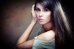 Long hair woman portrait Stock Image