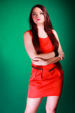 Long hair woman in red dress. Stock Photos