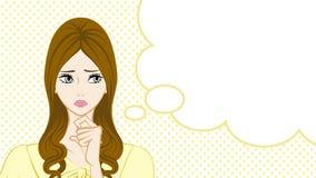 Long Hair Women Suspicion,Speech Bubble Royalty Free Stock Images