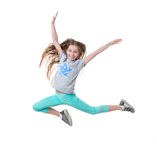 Long-haired active girl dancing, isolated Stock Photos