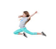 Long-haired active girl dancing, isolated Stock Photography