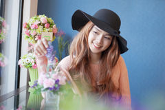 Long haired asia girl happy smile mirror reflection with beautif Royalty Free Stock Photography