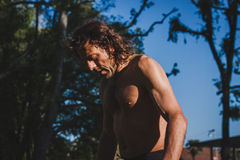 Long haired athlete getting ready for running royalty free stock photos