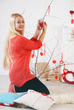 Long-haired blonde decorated tree Stock Photo