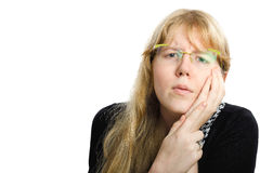 Long haired blonde girl having toothache Royalty Free Stock Photo