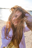 Long haired blonde outdoors wind Royalty Free Stock Images