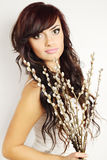 Brunette with a bouquet Royalty Free Stock Photos