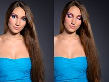 Long haired brunette professionally makeup Stock Photo