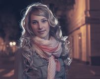Long haired female outdoor in evening Royalty Free Stock Photo