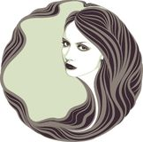 Long-haired girl. Vector illustration Royalty Free Stock Photo