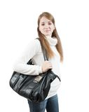 Long-haired  girl with bag  over white Stock Image