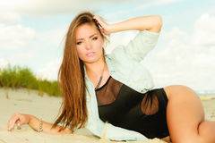 Long haired girl on beach, summertime Royalty Free Stock Image