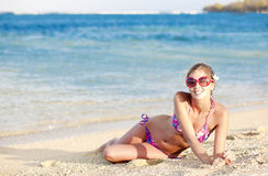 Long haired girl in bikini on tropical bali beach Royalty Free Stock Photos