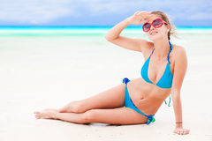 Long haired girl in bikini on tropical bali beach Royalty Free Stock Images