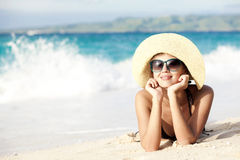 Long haired girl in bikini on tropical boracay Stock Images