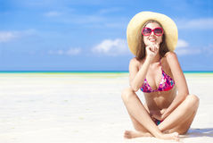 Long haired girl in bikini on tropical boracay beach Royalty Free Stock Photos