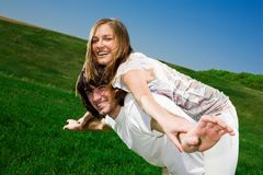 Long-haired girl and boy with smile Stock Images