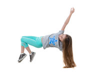 Long-haired girl dancing, isolated on white background Stock Image