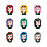 Long haired girl - 9 different hair colors. ( flat colors Royalty Free Stock Images