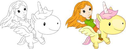 Long-haired girl flying on a fairy unicorn Royalty Free Stock Photos