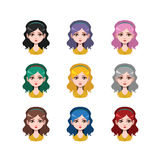 Long haired girl with headband - 9 different hair colors. ( flat colors Stock Photos