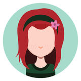Long haired girl with headband. Flat avatar Royalty Free Stock Image