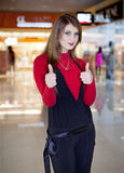 Long haired girl at the mall Royalty Free Stock Image