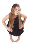 The long-haired girl standing like as doll Stock Photography