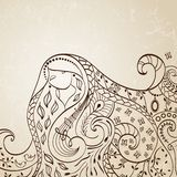 Long haired girl. Vector illustration. Stock Photography