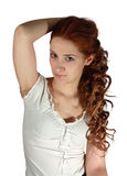 Long haired girl on white Royalty Free Stock Photos
