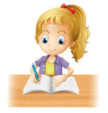 A long-haired girl writing vector illustration