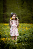 Long-haired girl with yellow flowers Royalty Free Stock Photos