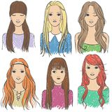 Long-haired girls. Six girls with different hairstyles for long hair Royalty Free Stock Photos