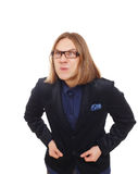 Long haired grimaced man in glasses portrait  at white Royalty Free Stock Photo