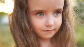 A long-haired little girl looks at the frame with big gray eyes. Close portrait, natural beauty, little beauty stock footage