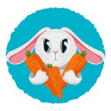 Long haired rabbit holding carrot in two paws vector illustration Stock Photo