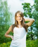 Long-haired teenager girl Stock Photos