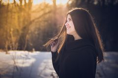 Long haired woman in forest