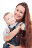 Long-haired woman and her baby. Young mother with her baby on white background Royalty Free Stock Photo