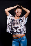 Long-haired woman in shirt with tiger Stock Photo